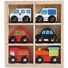 6 Véhicules de jouet en bois 5 voitures et un train dans une boîte en bois - Ambulance - Moteur de pompier - Taxi de Londres - Moteur de train - Voiture de police - Voiture rouge