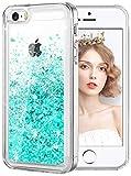 wlooo Coque pour iPhone SE/5/5S, iPhone Se Silicone Coque, iPhone 5S Glitter Liquide Paillette Protection TPU Bumper Housse Étincelle Pente Antichoc Souple Brillante Étui Case (Sarcelle)