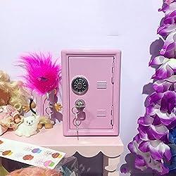 Caja fuerte rosa cajas decoración ahorro hucha hierro metálico -A 11.5x9.5x17.5cm(5x4x7inch)