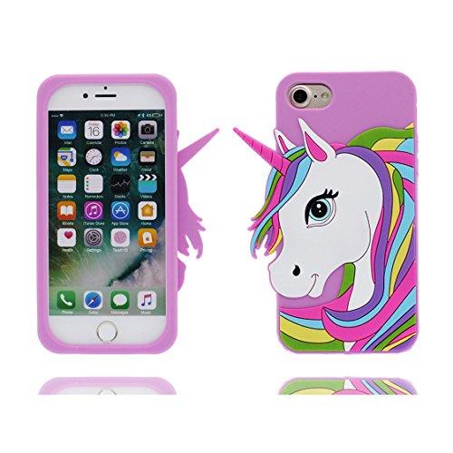 iPhone 6 Custodia, Scratch Shockproof TPU Nuovo design durevole Prezzo basso in case 3D Copertura Unicorno per iPhone 6S ( bianca ) [ iPhone 6s/6 4.7 ] porpora