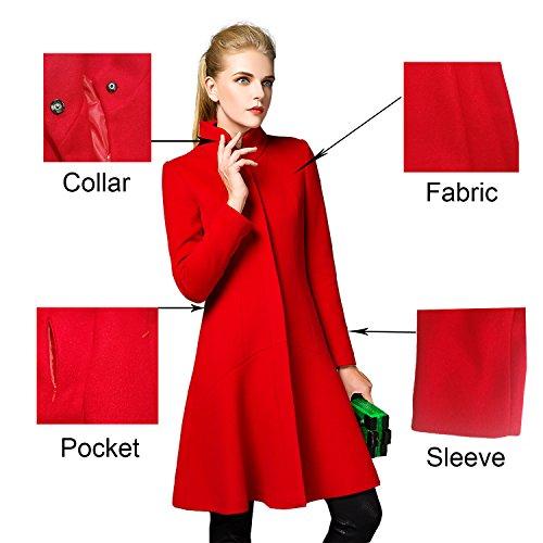 Damen Mantel Wool Coat Stehkragen Einreiher Mantel Lange Wollmantel Rot