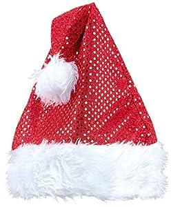 WIDMANN?Sombrero Papá Noel Navidad de lentejuelas Unisex-Adult, rojo, talla única, vd-wdm03858