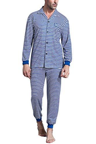 Dolamen-Coppie-Pigiama-per-Uomo-Cotone-Soft-Smooth-Uomo-lunga-Primavera-Pigiama-da-notte-Pantaloni-pigiama-Uomo-Pigiama-Controllare-bottoni-Camicia-Collare-con-Pocket