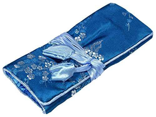 Soie Brodée De Fleurs Bleues Make Up Bag Wrap Jewellery Roll