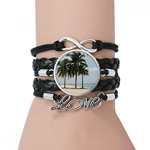 DIYthinker Damen Ocean Sand Strand Meer Baum Bild Armband Liebe Schwarz Verdrehte-Leder-Seil-Armband Bild Pal