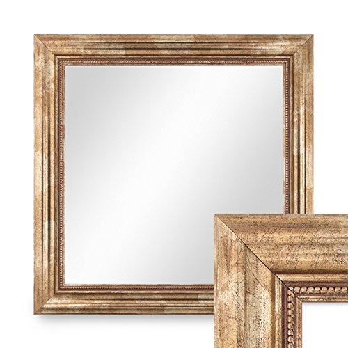 PHOTOLINI Wand-Spiegel 60x60 cm im Massivholz-Rahmen Barock-Stil Antik Gold Quadratisch/Spiegelfläche 50x50 cm