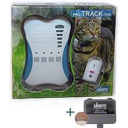Rastreador de Mascotas Mini Girafus® Pro-Track-Tor Localizador con Ondas de Radio Anti-Pérdida Gato, Perro - 1 transmisor + Cargador Incluido
