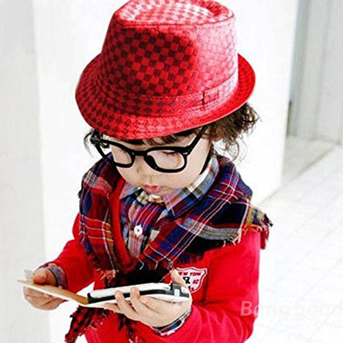 mark8shop Flat Top Fedora Jungen Canvas Cap Kids Blues Jazz Dance Hat -