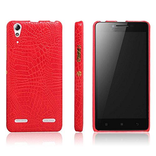 zl one Telefon Kasten für Lenovo K3 A6000 PU Leder Krokodil Haut Hülle Back Case Cover (Rot)
