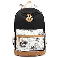 Benchmart Imprint Flower Pattern Canvas School Backpack Laptop Bag Daypack Travel Rucksack Bag School Teens Shoulder Backpack