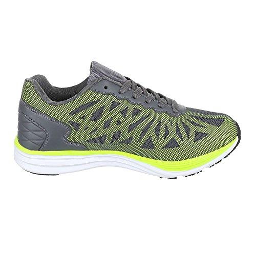 Ital-Design, Sneaker donna Grigio (Grigio/Verde)