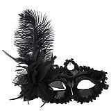 OverDose Damen Venezianische Schmetterlings-glänzende Schmetterlings-Dame Masquerade Karneval Party Bankett Club Cosplay Bekleidungszubehör Maske (Schwarz)