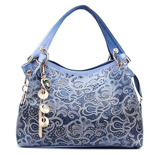 Handtasche Blumendruck Umhängetaschen Damen Pu Leder Tasche Rot/Grau/Blau
