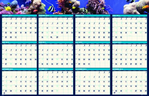 House of Doolittle Earthscapes Sea Life wendbar eintragen/WEGWISCHEN Planrecord Januar 2013bis Dezember 201361x 94cm recyceltem (hod3969)
