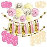 Newland 46 pezzi di carta di seta, ghirlanda di nappa palloni lattice le decorazioni del partito (Rosa)