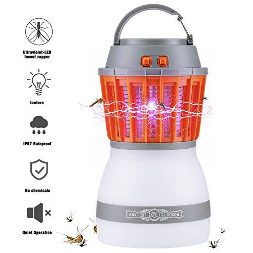 Zenoplige Insektenvernichter, 2018 Neueste Version Camping Moskito Lampe mit Wasserfeste und Transportable Laterne,Zelt Licht IP67 Regendichte Wanze und 2200mAh Wiederaufladbar USB für Innen und Außen