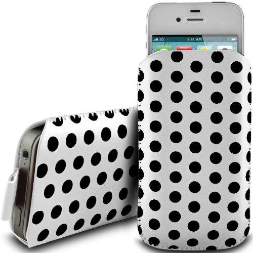 Weiss POLKA DOT Edel Erstklassige Qualität PU Leder PULL Flip Klapp Deckel TAB Tasche Schutzhülle Case Hülle Etui COVER Beutel Für HUAWEI G6609 BY N4U Zubehör und Accessoires