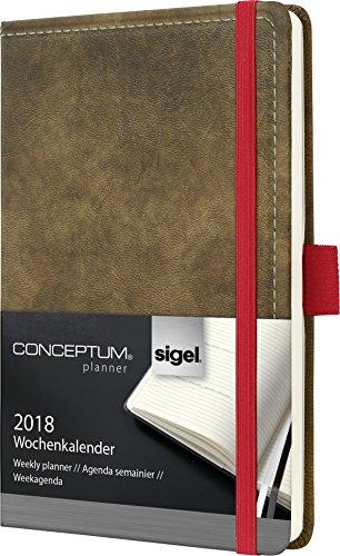 Sigel C1856 Wochenkalender 2018, ca. A6, Hardcover, Vintage, Leder-Optik braun, CONCEPTUM - auch in A5