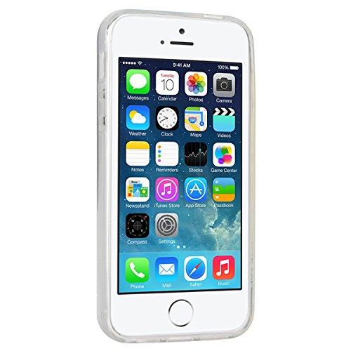 WE LOVE CASE iPhone 5 / 5s / SE Coque, Étui de Transparent et Clair Coque Souple Liquide Bling Briller, Housse de Protection en Premium Silicone Mince Case Pour iPhone 5 iPhone 5S iPhone SE - Argent argent