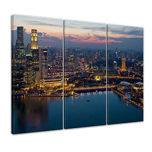 Wandbild - Singapur - Bild auf Leinwand - 150 x 90 cm 3tlg - Leinwandbilder - Bilder als Leinwanddruck - Städte & Kulturen - Asien - Skyline Singapurs bei Nacht