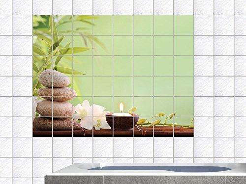 Graz Design, Adesivo da parete piastrellata per bagno, motivo: Ciottoli, bambù e candela, Immagine 120 x 80 cm, Piastrella 20 x 20 cm - Immagini Di Piastrella