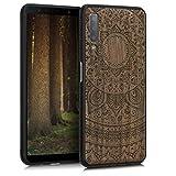 kwmobile Holz Schutzhülle für Samsung Galaxy A7 (2018) - Hardcase Hülle mit TPU Bumper Walnussholz in Indische Sonne Design Dunkelbraun - Handy Case Cover