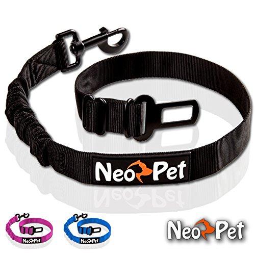 NeoPet Hunde-Sicherheits-Gurt Fürs Auto, Hunde-Anschnall-Gurt, Hund-Auto-Gurt Zum Anschnallen Für Die Rückbank, Größe M-L, Schwarz, Hundegurt Fürs Auto