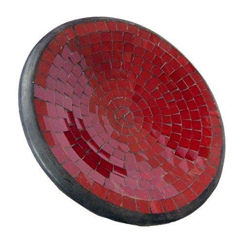 Simandra Mosaikschale Tonschale Glasschale Dekoschale Mosaik Kunsthandwerk Glassteine Deko rund S Color Rot -