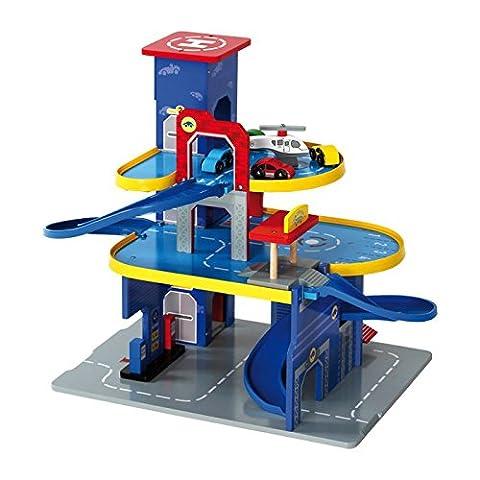 Legler Parkhaus City aus Holz, detailreiches Design, unbegrenzter Spielspaß auf 3 Ebenen, mit 3 Autos und 1 Hubschrauber, ideal geeignet für Kinder ab 3 (Holzspielzeug Parkhaus)