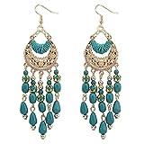 Boucles d'oreilles pompon Femmes,Covermason Bijoux bohémien Gouttes d'oreille mode Charme Coloré 1 Paire (Bleu)