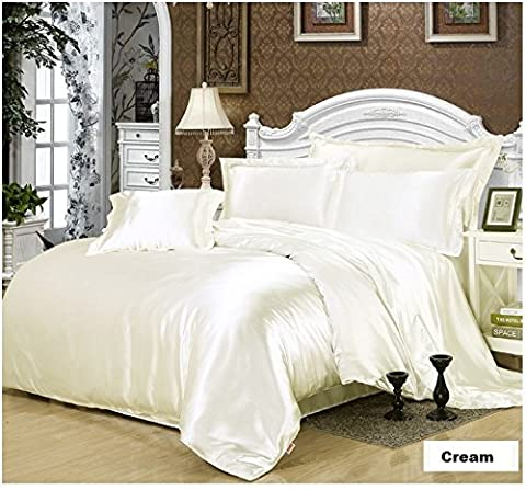 7 Piece Satin Bedding Sets Cream King Bed Size Duvet Cover , Fitted Sheet , Cushion Cover , Pillow cases Set By