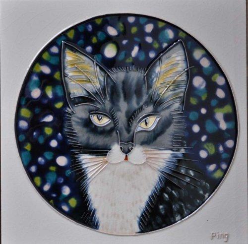 Continental Art Center bd-0066820,3cm Katze grau in Einem Kreis Rahmen Keramik Art Tile