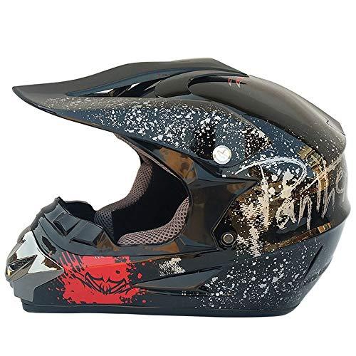 QYWSJ Motorrad Motocross Helm, ATV Dirt Bike Off Road Go Kart Motorradhelm, Sport Enduro Crash Helm, Mehrere AusfüHrungen (54~61 cm)