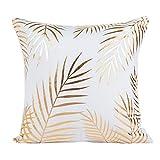 Kissenbezug 45 x 45 cm Gold folie Druck kissenhülle Sofa Taille Wurf Kopfkissenbezug Pillow Cover LuckyGirls (D)