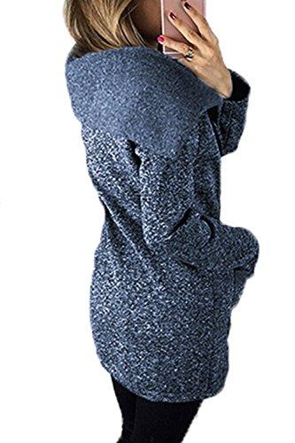 Le Donne Di Taglia La Cerniera Della Outwear Giacche, Cappotti Occasionale Giacconi Con Le Tasche Blue