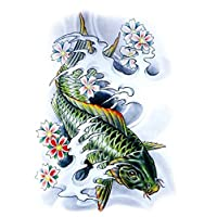 ruofengcp 21X15 cm 3D Large Large Tattoo Sticker Sketch Green Fish Drawing Cool Temporary Tattoo Sticker High Resolution