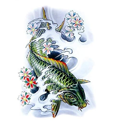ruofengpuzi 21X15 cm große große Tätowierungs-Aufkleber-Skizze-grüne Fische 3D, die kühle temporäre Tätowierungs-Aufkleber-hohe Auflösung ()