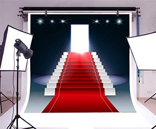 YongFoto 2x2m Vinyl Foto Hintergrund Roter Teppich Innenraum Bühne Lichter Treppe Bokeh Hollywood Fotografie Hintergrund für Fotoshooting Portraitfotos Party Kinder Fotostudio Requisiten
