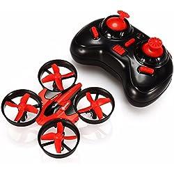 Mini Drone 2.4G 4Canales 6 Ejes Radio Control Modo sin Cabeza Drones para Niños (Rojo)