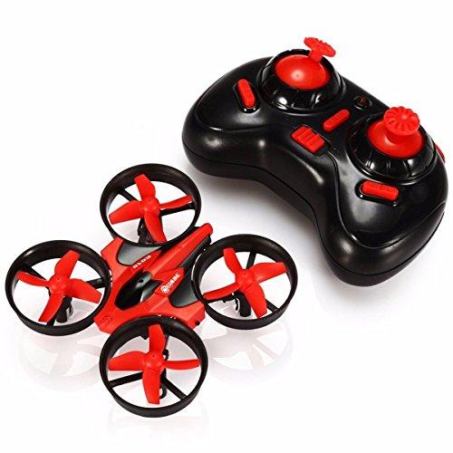 EACHINE E010 - Quadcopter, Helicopteros Cuadricopteros Drone, Mini Drone 2.4G 4CH 6 Axis Headless RC, Nano Teledirigido Quadcopter RTF Modo 2, Rojo