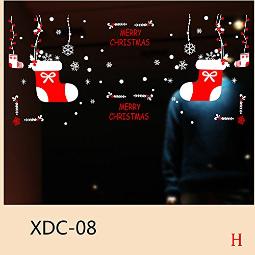 Preisvergleich Produktbild Junjie Nenu Weihnachtsschneemann Entfernbar Home Vinyl Mehrfarbig Fenster Wandaufkleber Abziehbild Dekor Größe: Über A: 45 * 33 * 55 cm