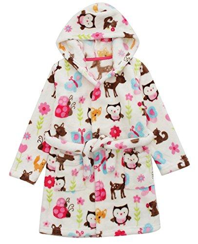 DELEY Unisex Kinder Mädchen Jungen Kapuzen-Bademantel Morgenmantel Weiches Coral-Fleece Nachtwäsche Warm Tier Pyjamas Mehrfarbig Größe 116/122 (Baby-jungen-pyjama Loungewear)