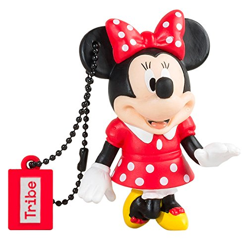 Tribe Disney Minnie Mouse Chiavetta USB da 16 GB Pendrive Memoria USB Flash Drive 2.0 Memory Stick, Idee Regalo Originali, Figurine 3D, Archiviazione Dati USB Gadget in PVC con Portachiavi