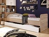 moebel-eins CASSIAN Bett 90x200 Eiche Sonoma/weiß