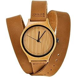 ZLYC Neutrale Minimalistische Design Der Japanisches Quarzwerk Leicht Bambus Auf Leder Holzuhr Armbanduhr