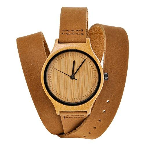 ZLYC Damen Original Design Handgefertigte Klassische Rindsleder Wrap Strap Bambus Armbanduhr , Braun
