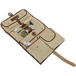 DRAKENSBERG Wash Bag, neceser, bolsa de cosméticos, bolsa de aseo, vintage, safari, lona, cuero, beis, marrón