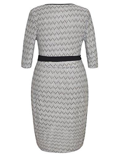 Chicwe Damen Große Größen Jacquard Knit Harlow Faux Wrap Kleid 1X-4X Grau&Schwarz