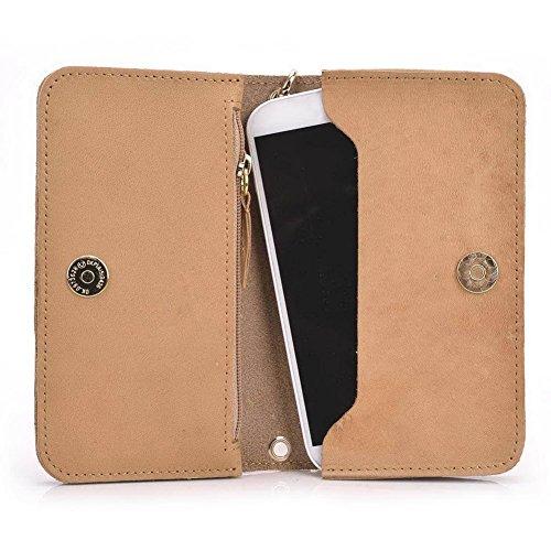 Kroo Pochette Cou en cuir fait avec dragonne pour Smartphone 12,7cm Housse de transport Compatible avec protection d'écran Pioneer P5L/P4S noir - noir Beige - peau