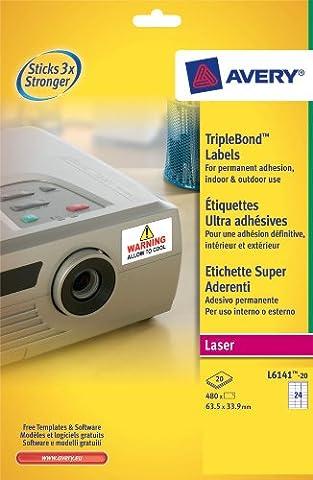 Avery TripleBond Drucker-Etiketten, 20Blatt à 24 Etiketten